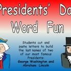 This FREE activity is a fun way to include literacy in your President's Day celebration!! Students  cut  and  paste  letters  to  build  the  last names of two of our most famous Presidents: George Washington and Abraham Lincoln. :)