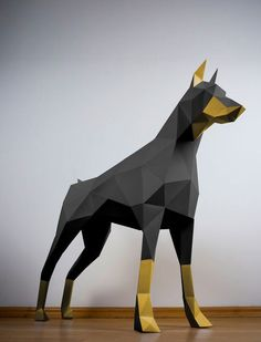 Doberman (White) Inspired by the classic animal trophies but informed by Postmodern art and origami, PAPERTROPHY is easy, eco-friendly art perfect for the home or office. Origami Design, Impression 3d, Postmodern Art, 3d Printing Diy, Polygon Art, 3d Paper Crafts, Paper Glue, Low Poly, Eco Friendly Paper