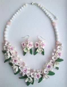 Pink and white jewelry  Gemstone jewelry  Polymer by insou on Etsy, $65.00