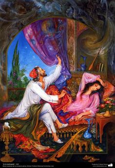 """""""In the morning"""" 1989 - Masterpieces of Persian miniature - Artist: M. Art And Illustration, Ancient Persian, Ancient Art, Middle Eastern Art, Iranian Art, Classic Paintings, Historical Art, Islamic Art, Fantasy Art"""