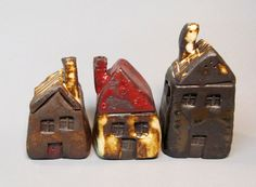 3 Ceramic Small Houses, 3 in a Set, High Fire, Black Clay, Unique and Cute, One of a kind, via Etsy