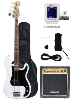 Crescent Electric Bass Guitar Starter Kit - White Color (Includes Amp & CrescentTM Digital E-Tuner), 2016 Amazon Top Rated Bass Guitars  #Musical-Instruments