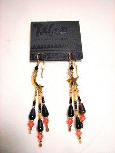 Tabra Austrian Crystal Onyx Black Bead Pearl Earrings Celesial 14K Gold Filled #Tabra #DropDangle