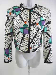Feraud Jacket featuring Memphis fabric by Nathalie du Pasquier Textile Prints, Textile Design, Funky Outfits, Cute Outfits, Sonic Bloom, Funky Clothing, Nathalie Du Pasquier, Memphis Milano, Memphis Design