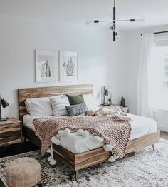 Bedroom Inspiration - Pursue your dreams of the perfect Scandinavian style home . Schlafzimmer Ins Small Master Bedroom, Master Bedroom Design, Bedroom Designs, Bedroom Styles, Farmhouse Bedroom Decor, Home Decor Bedroom, Bedroom Wall, Girls Bedroom, Cactus Bedroom