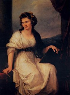 Self-portrait (1787). Angelica Kauffman (Austrian, 1741-1807). Oil on canvas. Uffizi Gallery. Kauffman depicts herself in a Roman dress gathered in the neoclassic way, with a belt under her breast....