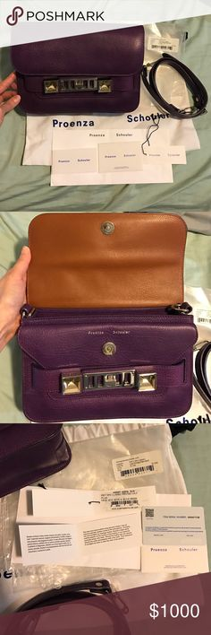 "Proenza Schouler PS11 mini classic plum 100% authentic/ mini classic/ color: plum/ worn 5 times (slight scuff marks on inside flap, scuff on the silver hardware twist closure and minor chipped on the strap)/ bag made in Italy/ measurements: 9.5"" L , 3.5"" W, 6.25"" H, 24"" strap length w/ 18"" drop./comes with adjustable shoulder strap, dust bag, care card, price tag, authenticity card, p.s. envelope, plastic bag w/ bar code,price and model name. **Last pic is for reference only. Proenza…"