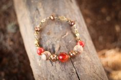 Glamour Stretch Bracelet - Red Carnelian, Olive Wood, and Gold Accents - $15.00 - #handmade, #fairtrade, #fashion