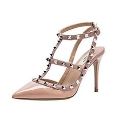 Kaitlyn Pan Pointed Toe Studded Strappy Slingback High Heel Leather Pumps Stilettos Sandals Nude Patent/Nude Straps/Gold Studs *** More info could be found at the image url. (This is an affiliate link) Black Pumps Heels, High Heel Pumps, Pump Shoes, Women's Shoes Sandals, Stilettos, Shoes With Jeans, Clearance Shoes, Dupes, Womens Shoes Wedges
