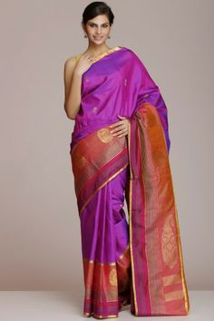 Purple Kanjeevaram Pure Silk Saree With Peachish Pink Pallu And Border And Half-Fine Zari