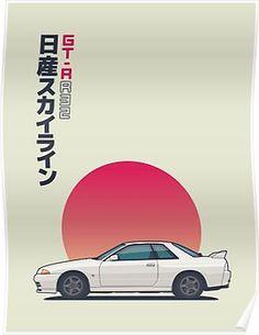 Nissan Skyline R32 GT-R Godzilla - Vert White Poster