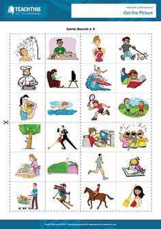 Present continuous ESL games, interactive and printable PDF worksheets and activities for teachers to use online or in class with and level students. Grammar Activities, English Activities, Language Activities, English Language Learning, Teaching English, English Lessons, Learn English, Pictures Of Presents, Present Continuous Worksheet