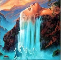 Pictures painting O White hair waterfall DIY Digital Oil painting