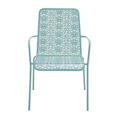 Offer your outdoor comfort a new dimension by including this metallic chair. In a soothing blue color, it will give the ambiance a cool and composed touch. Contemporary Outdoor Lounge Chairs, Metal Outdoor Chairs, Patio Lounge Chairs, Dining Arm Chair, Metal Chairs, Club Chairs, Side Chairs, Outdoor Furniture, Balcony Chairs