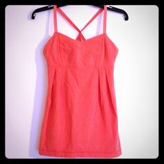"""Lululemon coral dance tank Coral dance style tank with fitted bra and flattering loose bottom. Cute strappy back design, built in shelf bra with room to add pads. Length is 25.5"""". Excellent condition! bundles lululemon athletica Tops Tank Tops"""