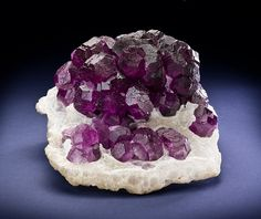 FLUORITE – CLUSTER OF DARK PURPLE 14-SIDED = CUBO-OCTAHEDRONS ON QUARTZ - DE'AN MINE, CHINA
