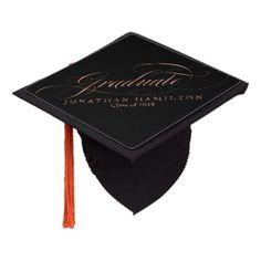#Rose Gold Foil Graduate Fancy Calligraphy Graduation Cap Topper - customized designs custom gift ideas