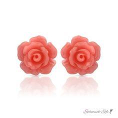 1 Paar Ohr Stecker Blüte  rosé im  Organza Beutel