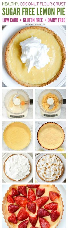 Sugar free lemon pie - a delicious low carb strawberry lemon curd pie with coconut flour pie curst and sugar free lemon curd. Gluten free, paleo, keto. Sugar free Meringue recipe provided -optional.