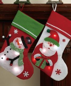 Love this LED Santa & Snowman Stocking Set on Felt Christmas Stockings, Christmas Stocking Pattern, Christmas Fabric, Christmas Snowman, Christmas Home, Christmas Tree Ornaments, Felt Stocking, Felt Crafts, Holiday Crafts