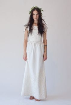 Stone Fox Bride Valentine, Spring 2013 Collection, Soho NYC, Floor length my height 5'5, Size 10, Keyhole back, Beading All Over top half and bottom 1/3, Lace Top, Sleeves extended to elbows.