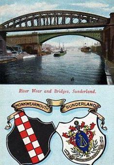 17) A 1905 postcard. The bridges and two crests. Sunderland, Crests, Buses, Bridges, Past, England, River, City, Past Tense