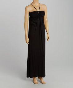 Loving this Black Empire-Waist Halter Maxi Dress on #zulily! #zulilyfinds