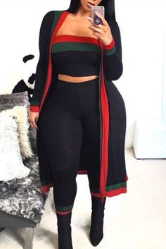 Black Fashion Casual Patchwork Split Joint Plus Size Three-piece Set Girl Outfits, Casual Outfits, Cute Outfits, Fashion Outfits, Style Fashion, Fat Girl Fashion, Clubbing Outfits, Pretty Outfits, Beautiful Outfits