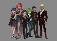 "grassfour: """" Teen Titans Together! Teen Titans Tv Series, Teen Titans Love, Teen Titans Fanart, Original Teen Titans, Teen Titans Robin, Robin Starfire, Starfire And Raven, Beast Boy, Damian Wayne"