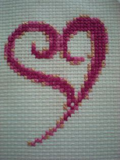Swirly Curly Pink Heart Cross Stitch Kit!  Stitched on 6 count aida  Size: 14 x 16 cm. Whole Stitches Only so perfect for young children and beginners  Kit contains everything needed to complete your kit: DMC Aida, Pre sorted Anchor threads, Gold Plated Needle and Full Instructions.