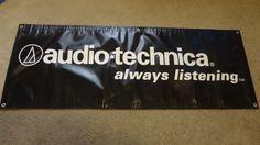 "Rare Audio-Technica ""Always Listening"" Black AT Vinyl Banner 48"" x 17.5"" by EsthersEssentials13 on Etsy"