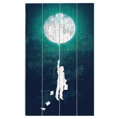 Perfect as a delightful focal point or in an eye-catching vignette, this planked wood wall decor features a moon-inspired print.  Pr...