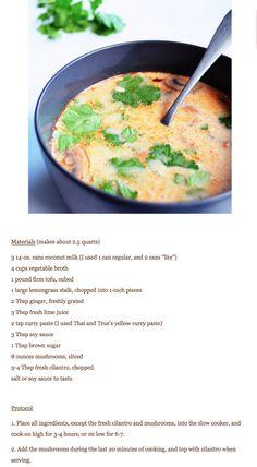 slow cooker Tom Kha Gai  aka Thai coconut soup