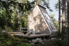 Very cool tiny home in the woods...too small for me, but I like the design