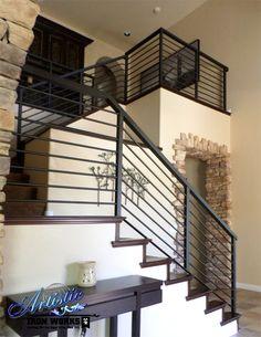 exterior metal stair railing metal handrails for stairs horizontal rod iron stair railing metal handrails for outdoor stairs outdoor iron stair railing kit Black Stair Railing, Black Stairs, Stair Railing Design, Metal Stairs, Modern Stairs, Stair Case Railing Ideas, Rod Iron Railing, Wrought Iron Stair Railing, Stair Handrail
