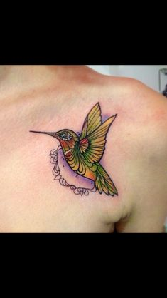 Neo traditional hummingbird tattoo