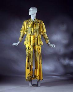 1971 trouser pant suit Ossie Clark - Celia Birtwell textile print
