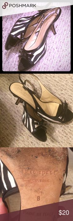 Kate Spade zebra print open toe heels Sz.6B Kate Spade ♠️ heels  size 6-B black & white zebra print open toe with adj. strap around heel - apx 2in heel height - do show some signs of wear but still good used condition & super cute!! kate spade Shoes Heels