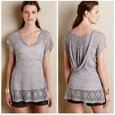 """NWT Anthropologie Hooded Pointelle Pullover By Moth. Linen-cotton pointelle knit. Hand wash. 28""""L. Not totally convinced that I want to let go of this, but trying to clean out a bit. Simple shirt, but really cute with cami underneath! Anthropologie Tops Tees - Short Sleeve"""