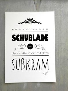 "Kunstdruck ""Süßkram"" // typo print via The Words, Cool Words, Positive Vibes Quotes, Words Quotes, Sayings, German Words, Tumblr Quotes, Statements, Feel Good"