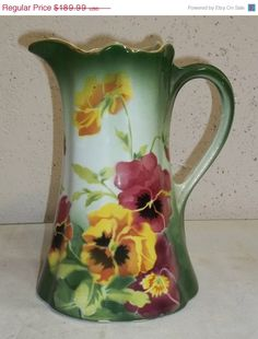 SPRING SALE Antique Keller et Guerin Faience Majolica Pansy Pitcher French France Floral.  via Etsy.