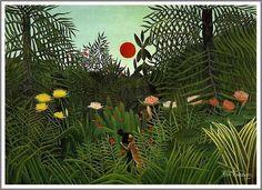 絵画(油絵複製画)制作 アンリ・ルソー「豹に襲われる黒人」