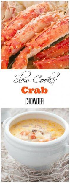 Crockpot Crab and Corn Chowder Recipe - Real Advice Gal Crab And Corn Chowder, Crab Soup, Chowder Soup, Crab Meat, Crab Recipes, Chowder Recipes, Soup Recipes, Crawfish Recipes, Chili Recipes