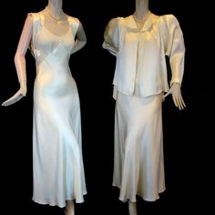 1930s nightgown and bed jacket set from the exclusive TRIBOUT SHOP at the John Wanamaker Store of Philadelphia. The Tribout shop got its beginning in Paris and was purchased by Rodman Wanamaker (son of John) in 1924. It was an elegant salon that sold French luxury goods and high-end clothing for women and children.