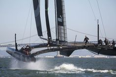 Practicing maneuvers for the America's Cup during training.