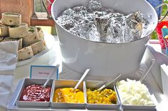 Foil Wrapped Hot Dogs and Condiment Bar..so doing this instead of cooking so much for the next party!