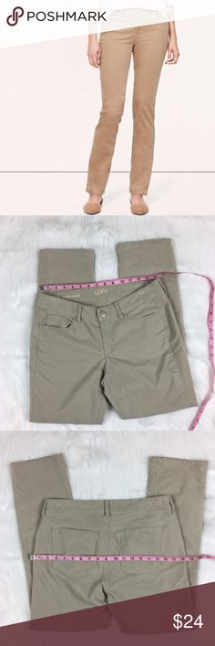 Ann Taylor LOFT Modern Straight Corduroy Pants Ann Taylor LOFT Modern Straight Corduroy Light Khaki Pants.  Size 29/8 petite with 8' rise and 27 1/2' inseam. Pre-owned condition with light wear that shows around pockets and zipper and also has very light lines on one pocket as pictured shows. Those aren't very noticeable at all when worn.  The color is lighter than the stock photo shows. ❌I do not Trade 🙅🏻 Or model💲 Posh Transactions ONLY LOFT Pants Straight Leg
