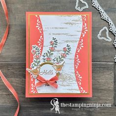 This beauty is featured on my blog today. It is made by combining the Quite Curvy bundle and the Birch background stamp. I just love it and I know that whoever receives it will too!!