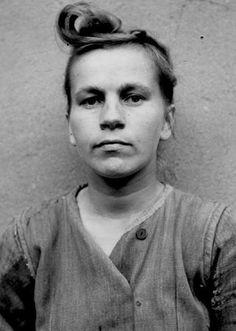The Beasts: Elisabeth Volkenrath, Oberaufseherin (Senior Supervisor) Ravensbrück Auschwitz, Bergen-Belsen. She was hanged for her troubles in November 1945.