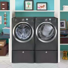 Front Load Washer with IQ Touch Controls Featuring Perfect Steam in Titanium, at The Home Depot - Tablet Stacked Washer Dryer, Washer And Dryer, Electric Laundry, Electric Dryer, Home Depot, Dryers For Sale, Gas Dryer, Front Load Washer, Laundry Room Design